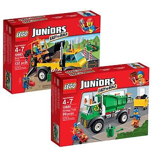 Combo LEGO JUNIORS - Xe Vệ Sinh Môi Trường 10680  Và Xe Kéo Cứu Hộ 10683