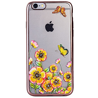 Ốp Lưng Cube Iphone 6/6S Swarovski Blossom TPU - Yellow Flower Butterfly