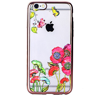 Ốp Lưng Cube Iphone 6/6S Swarovski Blossom TPU - Red Flower Butterfly
