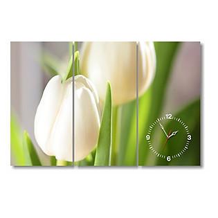 Tranh Đồng Hồ Dyvina 3T3060-38 - Hoa Tulip Trắng