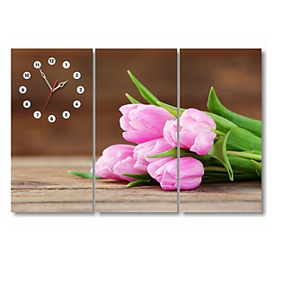 Tranh Đồng Hồ Dyvina 3T3060-39 - Hoa Tulip Hồng Phấn