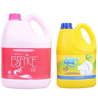 Combo Nước Xả Vải Essence Chai Hồng 3800Ml Và Nước Rửa Chén Bubbiking (1.5Kg)