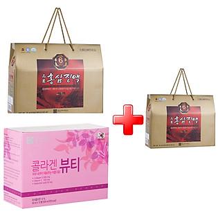 Combo Thực Phẩm Chức Năng Nước Hồng Sâm + Collagen Beauty Chong Kun Dang (Tặng 1 Hộp Nước Hồng Sâm 6 Năm Tuổi)
