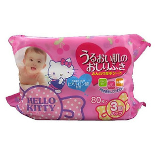 Giấy Ướt LEC Hello Kitty E037 (80 Tờ X 3 Gói)