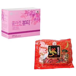 Combo Thực Phẩm Chức Năng 1 Hộp Nước Uống Collagen Beauty + 1 Kẹo Sâm Chong Kun Dang