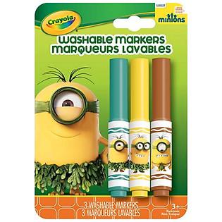"""""""Bộ 3 Bút Lông Minions Tẩy Rửa Được Crayola 5852010000 (Xanh Lá, Vàng, Đỏ)"""""""