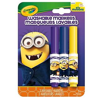 """""""Bộ 3 Bút Lông Minions Tẩy Rửa Được Crayola 5852050000 (Xanh Dương, Tím, Đỏ)"""""""