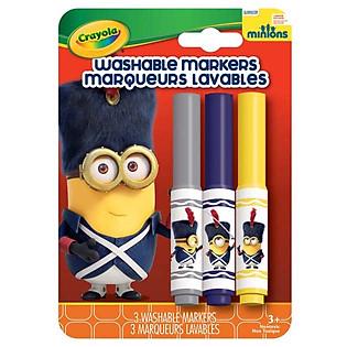 """""""Bộ 3 Bút Lông Minions Tẩy Rửa Được Crayola 5852070000 (Xám, Xanh Tím, Vàng)"""""""