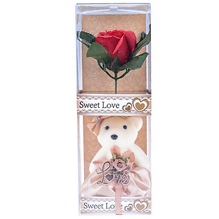 Gấu Bông Và Hoa 255 - Đỏ