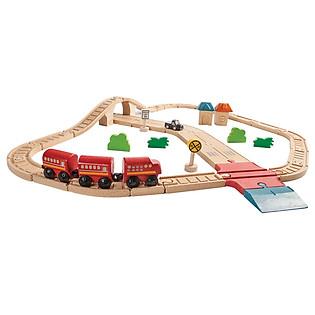 Mô Hình Plan Toys - Bộ Đường Ray Tàu Hỏa Và Đường Phố Pl6608