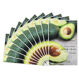 Combo 10 Mặt Nạ Trái Bơ Dưỡng Mềm Mịn Nature Republic Real Nature Avocado Mask Sheet