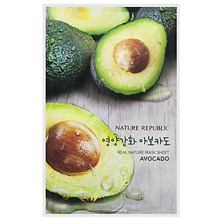 Mặt Nạ Trái Bơ Dưỡng Mềm Mịn Nature Republic Real Nature Avocado Mask Sheet (23Ml)