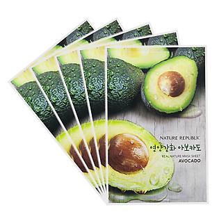 Combo 5 Mặt Nạ Trái Bơ Dưỡng Mềm Mịn Nature Republic Real Nature Avocado Mask Sheet