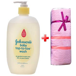 Combo Sữa Tắm Gội Em Bé Johnson'S Baby Top To Toe (500Ml) Tặng 1 Khăn Em Bé