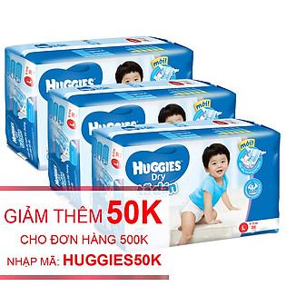 Combo 3 Tã Dán Huggies Dry Jumbo Gói Đại Size L (38 Miếng)