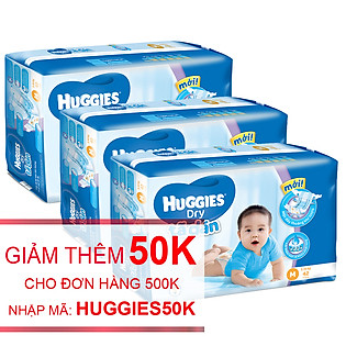 Combo 3 Tã Dán Huggies Dry Jumbo Gói Đại Size M (42 Miếng)