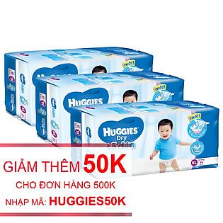 Combo 3 Tã Dán Huggies Dry Jumbo Gói Đại Size XL (34 Miếng)