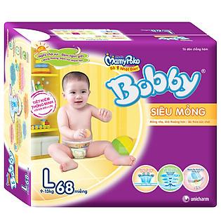 Tã Dán Bobby Fresh Super Jumbo Siêu Mỏng Size L (68 Miếng)