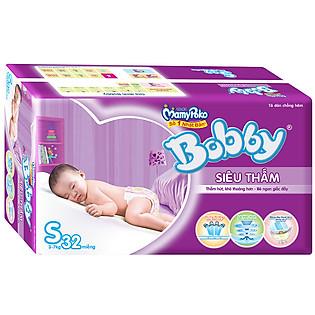 Tã Bobby Fresh Siêu Thấm Gói Lớn Size S (32 Miếng)