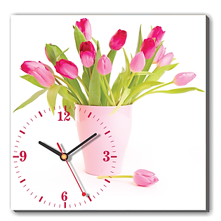 Tranh Đồng Hồ Dyvina 1T3030-37 - Hoa Tulip Hồng