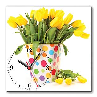 Tranh Đồng Hồ Dyvina 1T3030-4 - Hoa Tulip Vàng