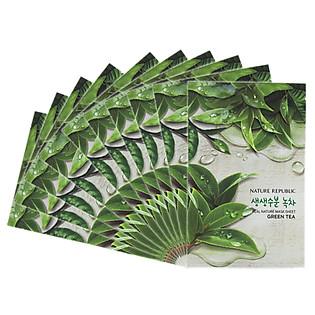 Combo 10 Mặt Nạ Đắp Từ Trà Xanh Nature Republic Real Nature Green Tea Mask Sheet