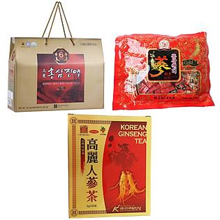 Combo Thực Phẩm Chức Năng 1 Hồng Sâm Nước + 1 Kẹo Sâm  + 1 Trà Sâm Chong Kun Dang