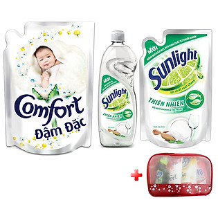 Combo Nước Xả Chăm Sóc Bé Yêu Comfort White Pouch 1.6L + Nước Rửa Bát Sunlight Thiên Nhiên Chai 750G + Túi 750G