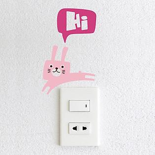 Decal Trang Trí Ổ Cắm Điện Ninewall  Hi Rabbit De011a