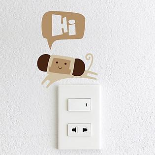 Decal Trang Trí Ổ Cắm Điện Ninewall Hi Monkey De011b