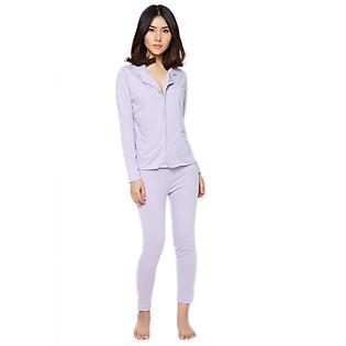Đồ Bộ Pyjama Labelle DP2 - Tím Chấm Bi Trắng