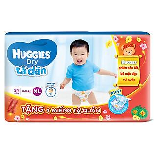 Combo Tã Dán Huggies Dry Jumbo Gói Đại Size XL (34 Miếng) + 4 Miếng Cùng Loại (Tết 2016)