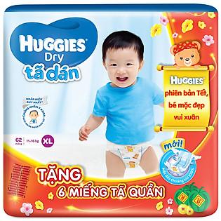 Combo Tã Dán Huggies Dry Jumbo Gói Cực Đại Size XL (62 Miếng) + 6 Miếng Cùng Loại (Tết 2016)