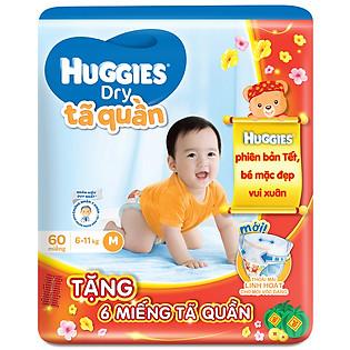 Combo Tã Quần Huggies Dry Pants Gói Lớn Big Jumbo Size M (60 Miếng) + 6 Miếng Cùng Loại (Tết 2016)