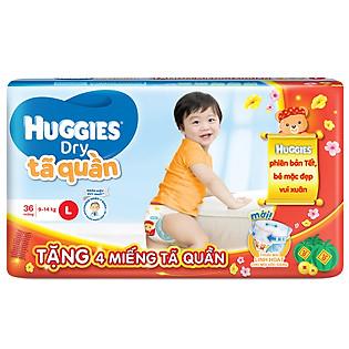 Combo Tã Quần Huggies Dry Pants Gói Lớn Jumbo Size L (36 Miếng) + 4 Miếng Cùng Loại (Tết 2016)