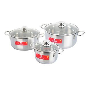 Bộ 3 Nồi 3 Đáy Nắp Kính Happy Cook EL06CRY