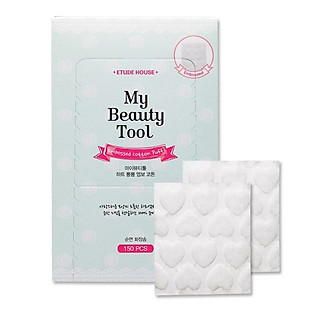Bông Cotton Hình Trái Tim Etude House My Beauty Tool Embossed Cotton Puff (150 Miếng )