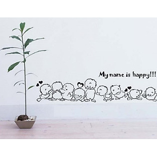 Decal Dán Tường Ninewall My Name Is Happy BA013
