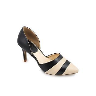 Giày Cao Gót Phối Màu Sọc Ngang G Alanti GS14-011-40-DN - Đen Phối Kem Đậm