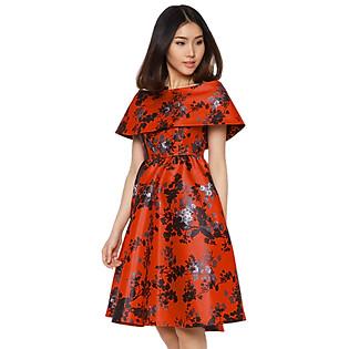 Đầm Hoa Trễ Vai Xòe Labelle D190 - Đỏ Phối Hoa Đen