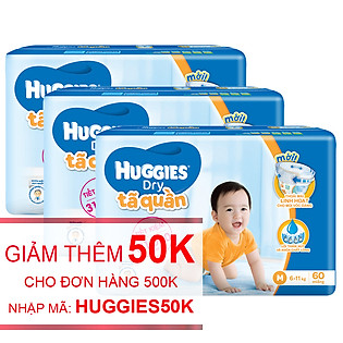 Combo 3 Tã Quần Huggies Dry Pants Gói Lớn Big Jumbo Size M (60 Miếng)