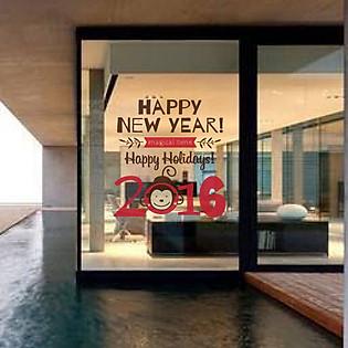 Decal Dán Tường Ninewall Happy New Year Monkey HT017