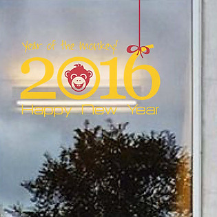 Decal Dán Tường Ninewall Monkey With Happy Year HT030