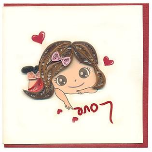 Thiệp Giấy Xoắn Việt Net - Love Mẫu 2 (10 X 10 Cm)