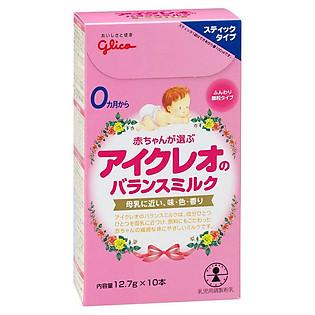 Hộp 10 Gói Sữa Công Thức Glico Icreo Balance Milk Stick Số 0 (12.7G)