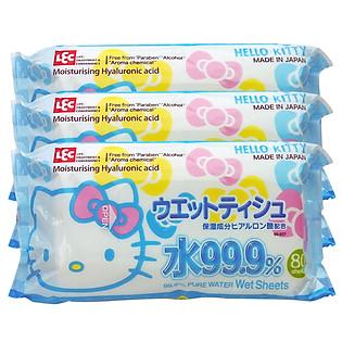 Combo 3 Gói 80 Tờ Giấy Ướt LEC Hello Kitty SS237