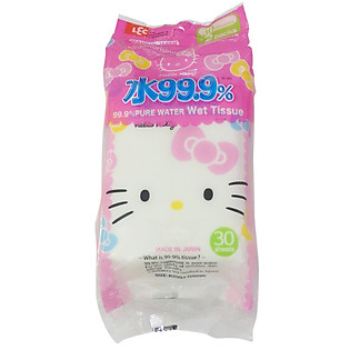 """""""Giấy Ướt Nước Tinh Khiết 99,9% LEC  Hello Kitty SS263 (30 Tờ X 2 Gói)"""""""