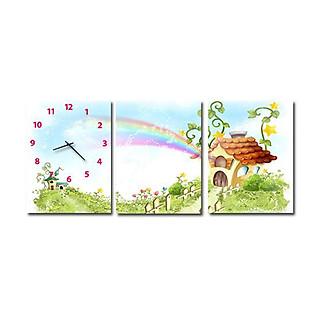 Tranh Đồng Hồ Suemall BB1203 - Ngôi Nhà Cầu Vồng