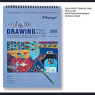 Tập Vẽ A4 Lò Xo View Mango - TVA4LX VE