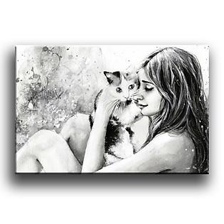 Tranh Canvas Vicdecor TCV0010 Chú Mèo Đáng Yêu